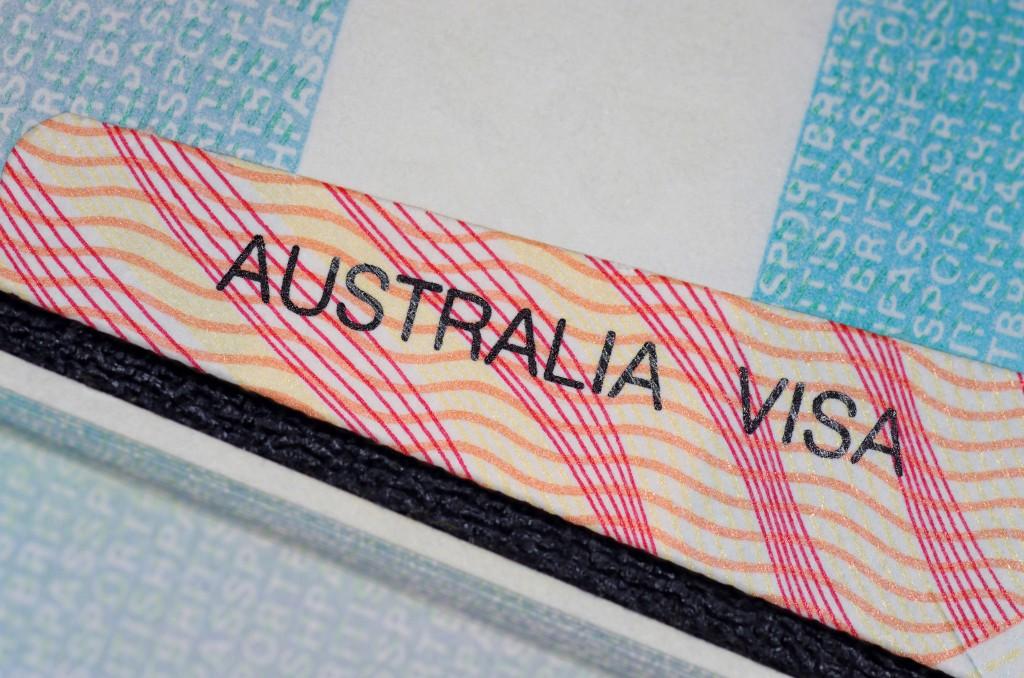 australian visa on a open passport page